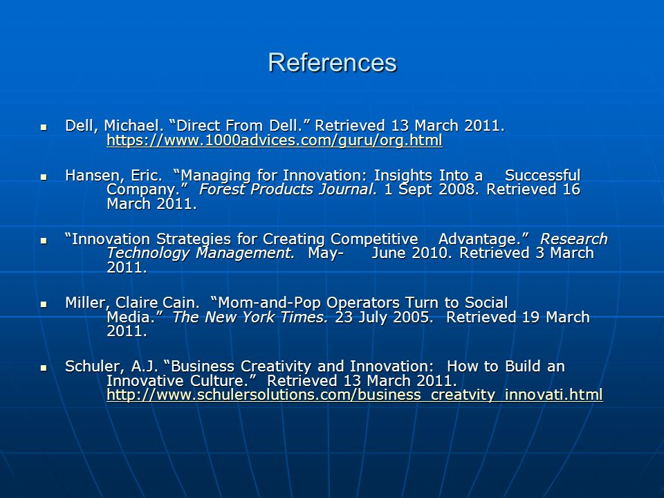 References Dell, Michael. Direct From Dell. Retrieved 13 March 2011. https://www.1000advices.com/guru/org.html.