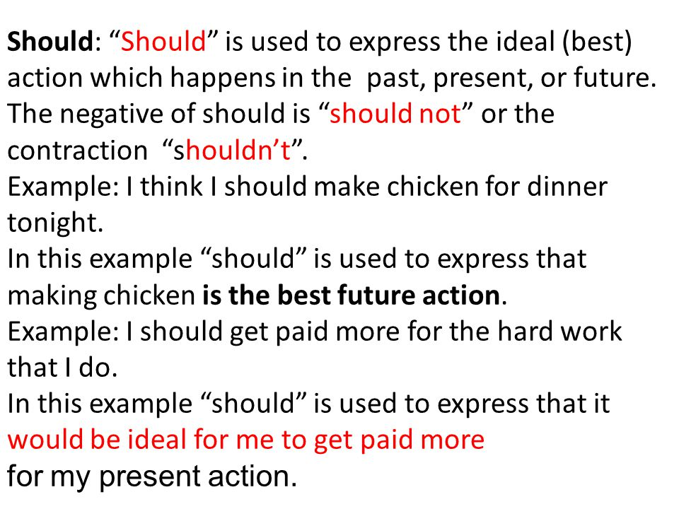 Should: Should is used to express the ideal (best) action which happens in the past, present, or future. The negative of should is should not or the contraction shouldn't .