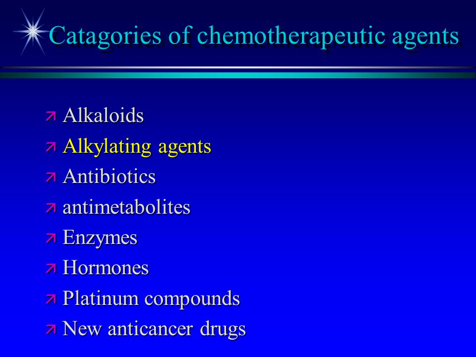 Catagories of chemotherapeutic agents