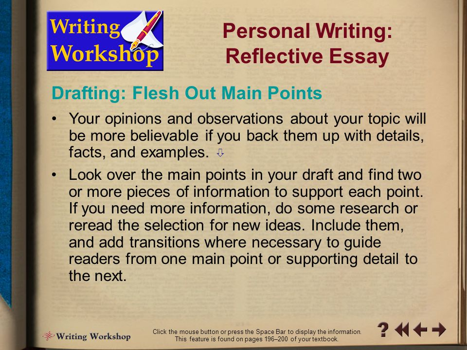 topic selection reflection essay Click here to see essays previously selected for the reflection in global  and  scored on four criteria— originality/theme, composition, critical reflection, and.