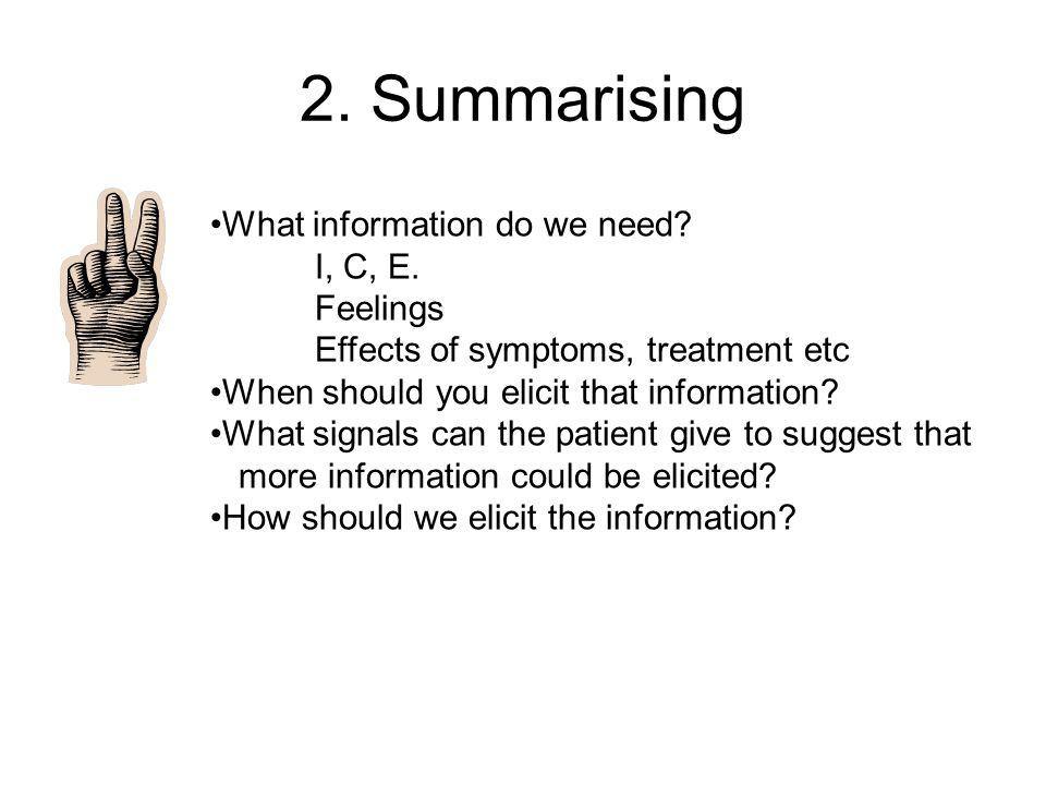 2. Summarising What information do we need I, C, E. Feelings