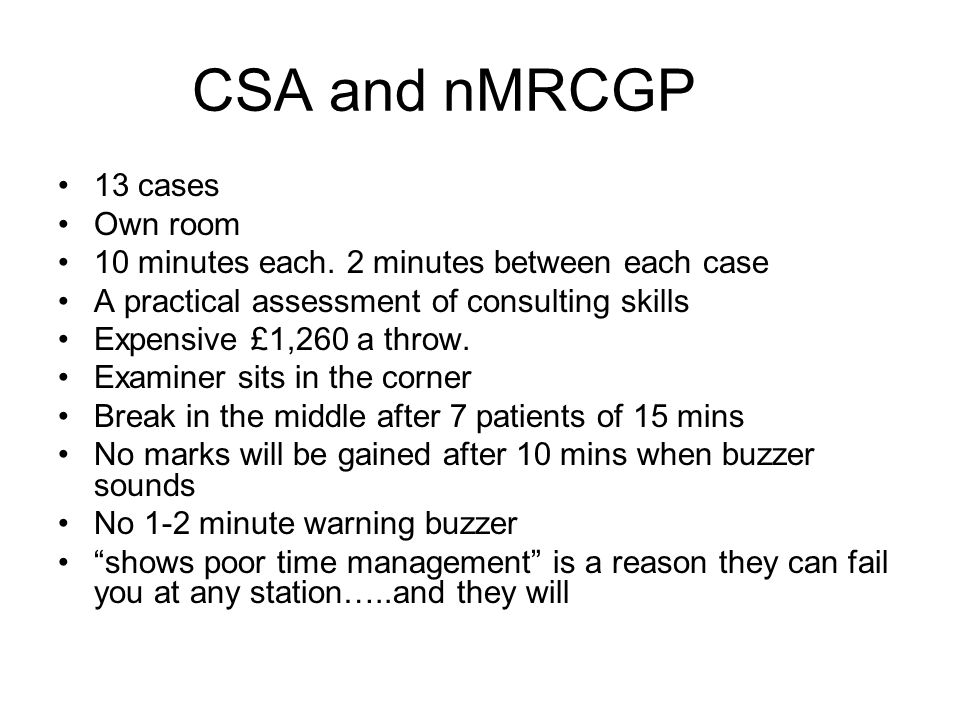 CSA and nMRCGP 13 cases Own room