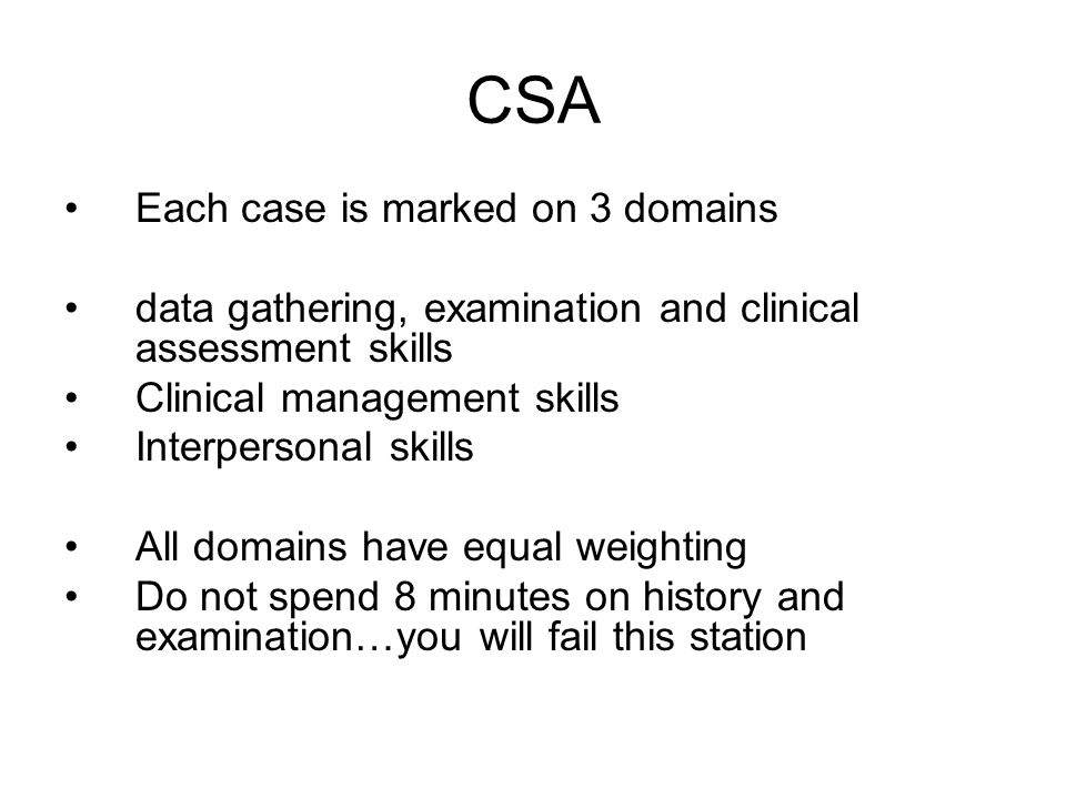CSA Each case is marked on 3 domains