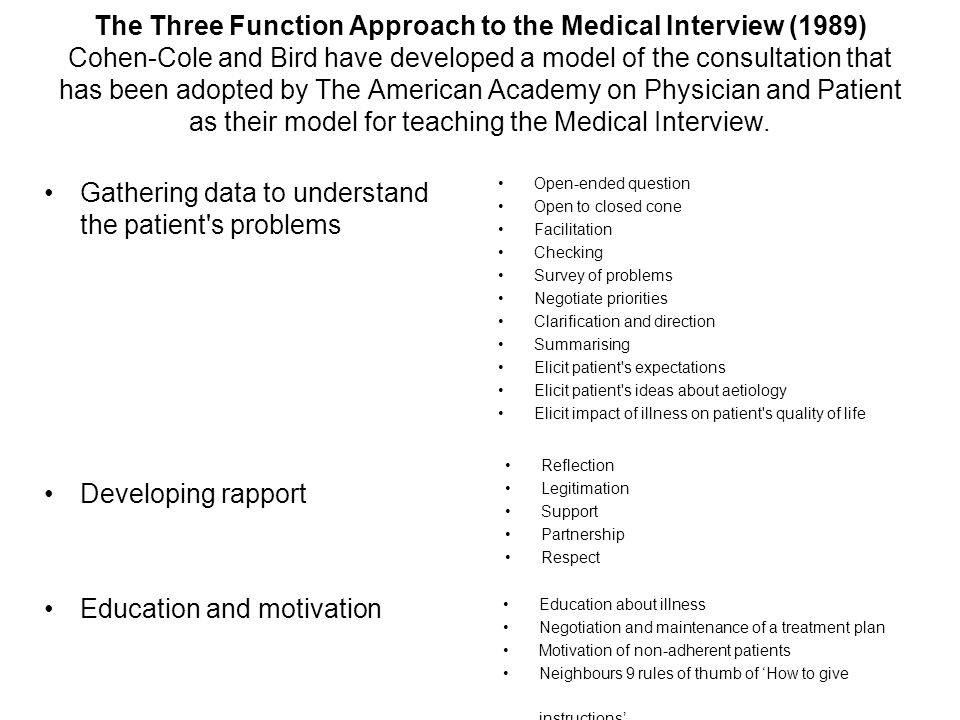 Gathering data to understand the patient s problems