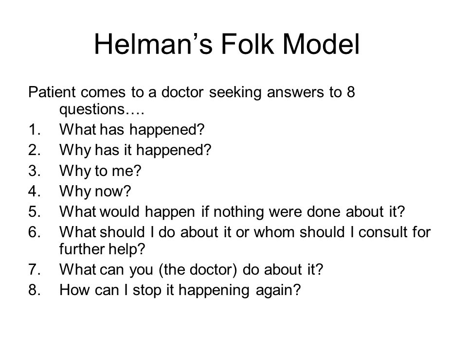 Helman's Folk Model Patient comes to a doctor seeking answers to 8 questions…. What has happened Why has it happened