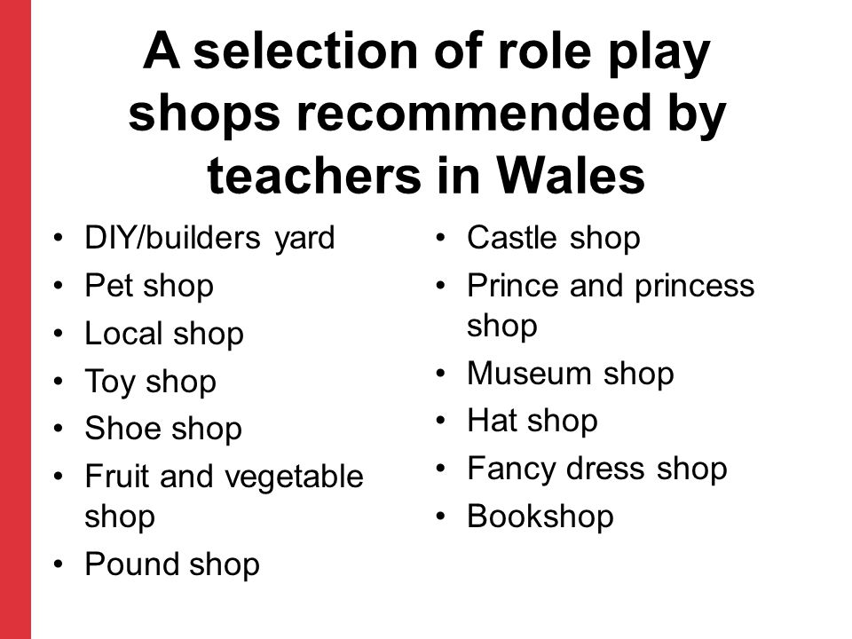 A selection of role play shops recommended by teachers in Wales
