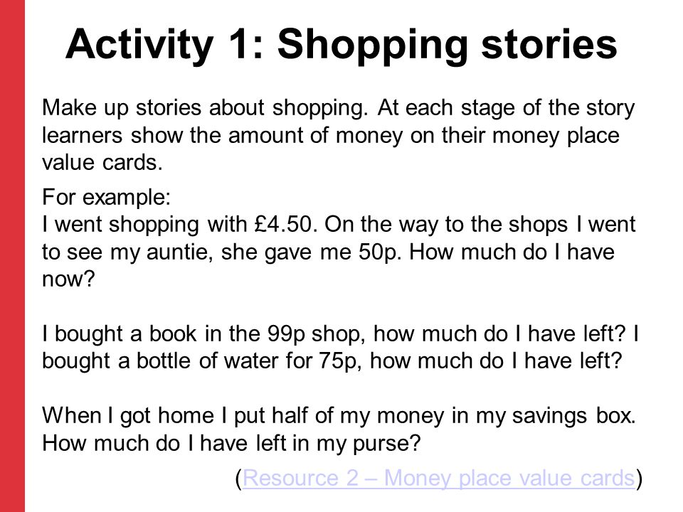 Activity 1: Shopping stories