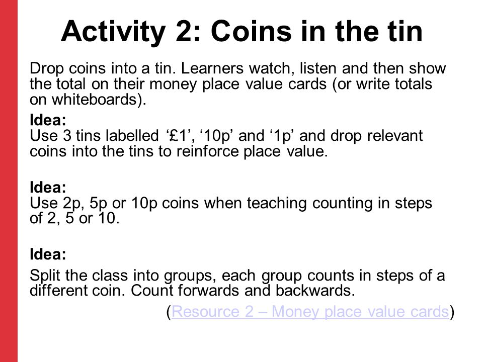 Activity 2: Coins in the tin