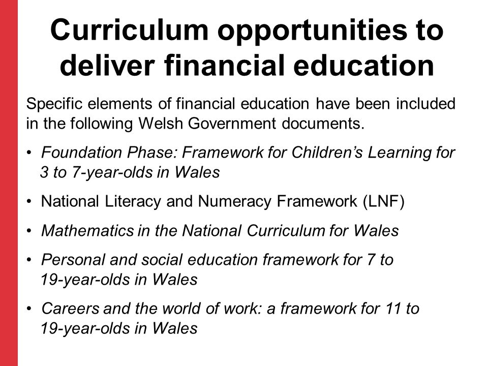 Curriculum opportunities to deliver financial education