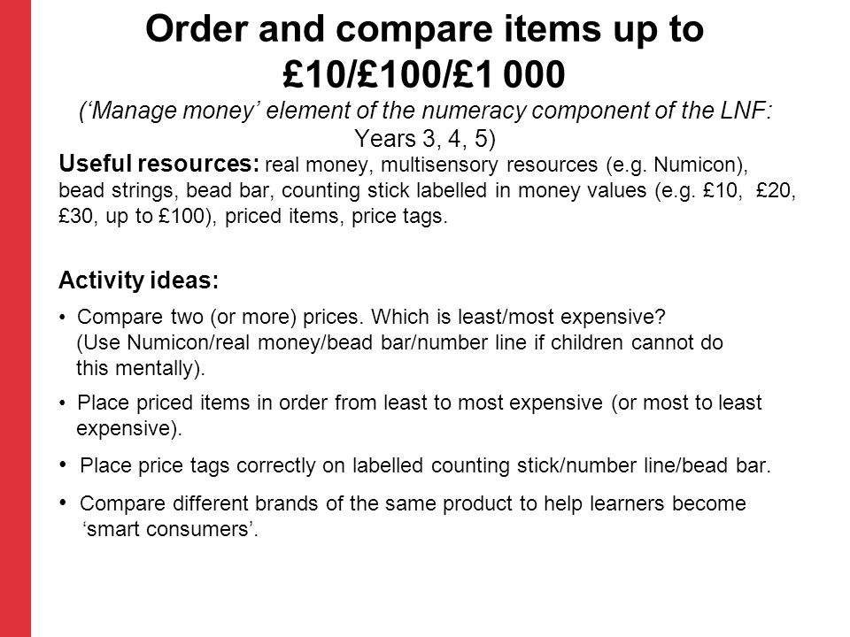 Order and compare items up to £10/£100/£1 000 ('Manage money' element of the numeracy component of the LNF: Years 3, 4, 5)