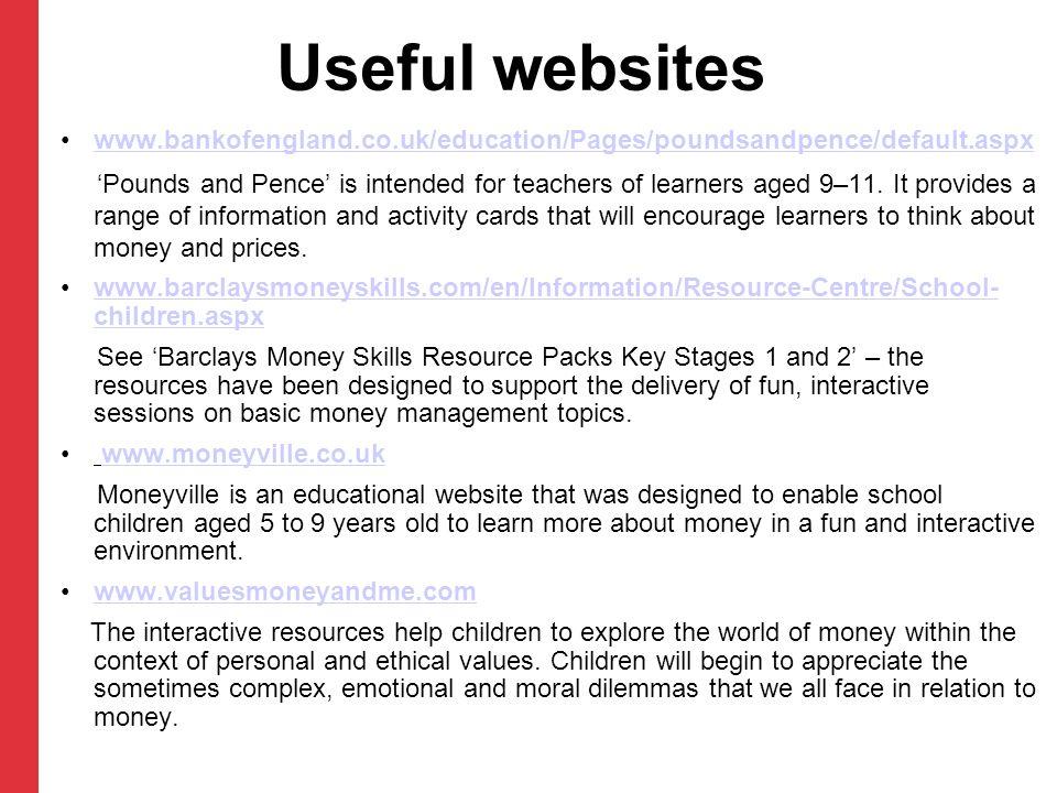 Useful websites www.bankofengland.co.uk/education/Pages/poundsandpence/default.aspx.