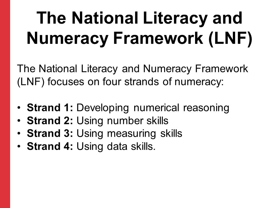 The National Literacy and Numeracy Framework (LNF)