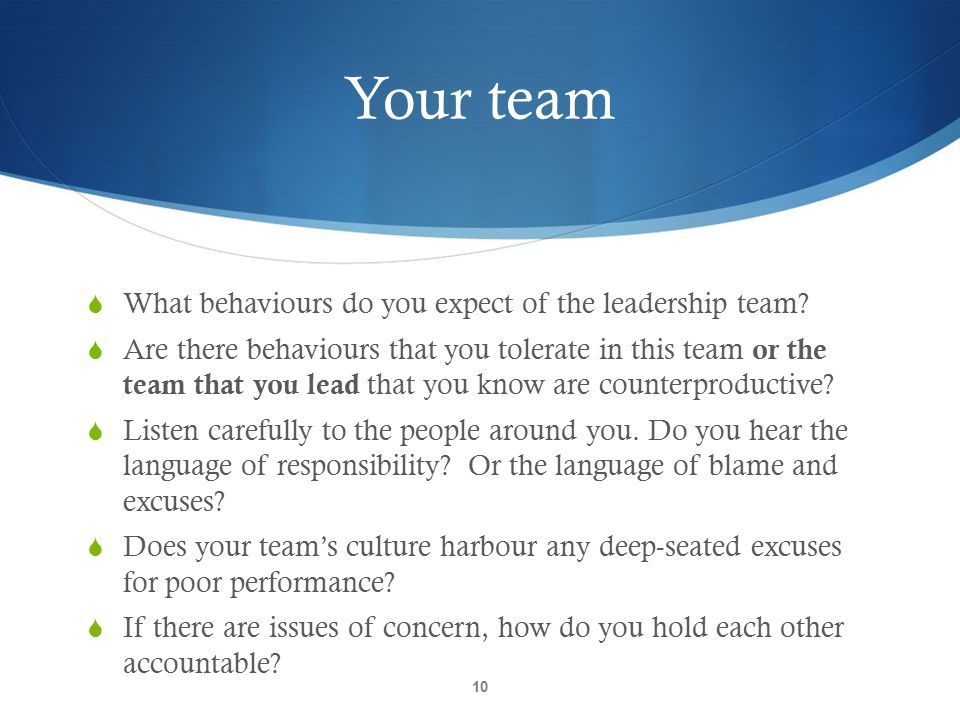Your team What behaviours do you expect of the leadership team