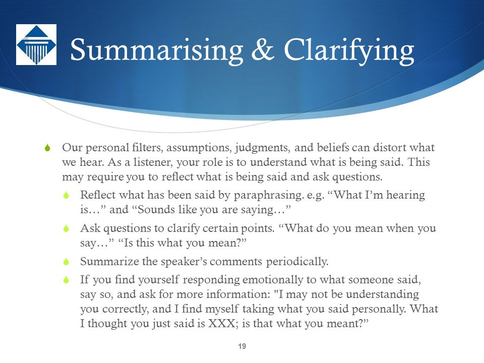 Summarising & Clarifying
