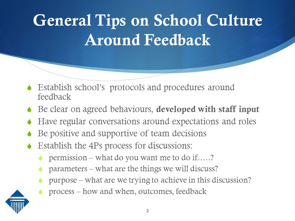 General Tips on School Culture Around Feedback