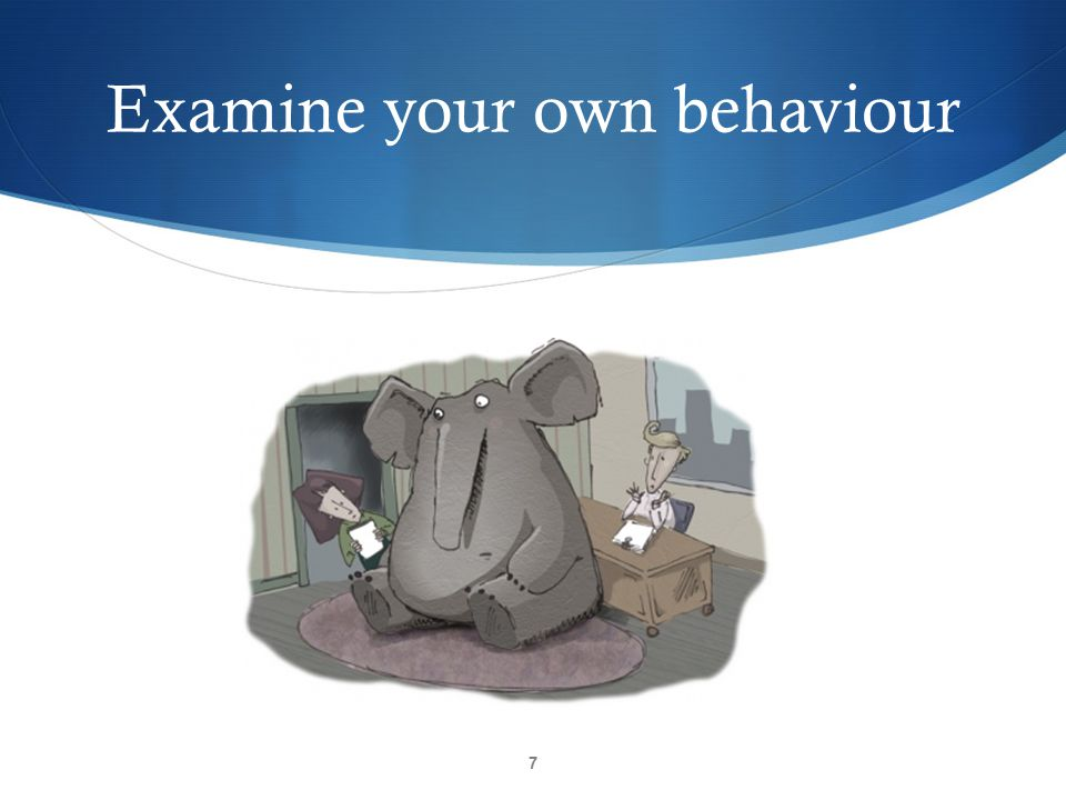 Examine your own behaviour