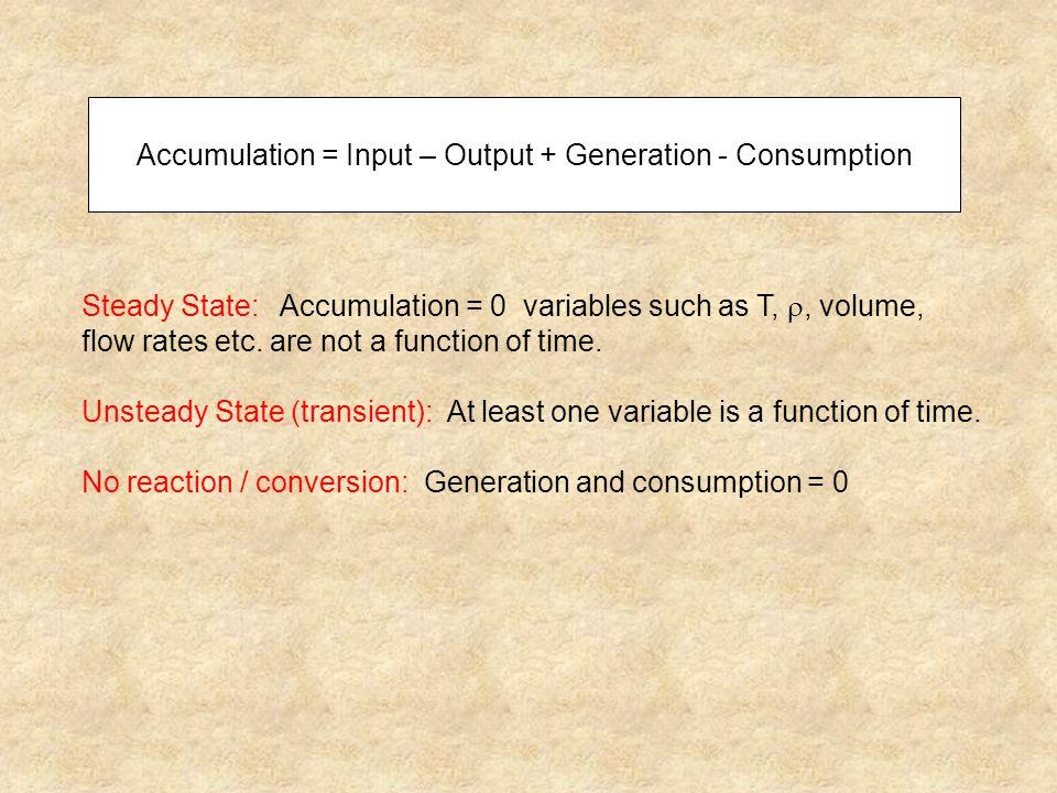 Accumulation = Input – Output + Generation - Consumption