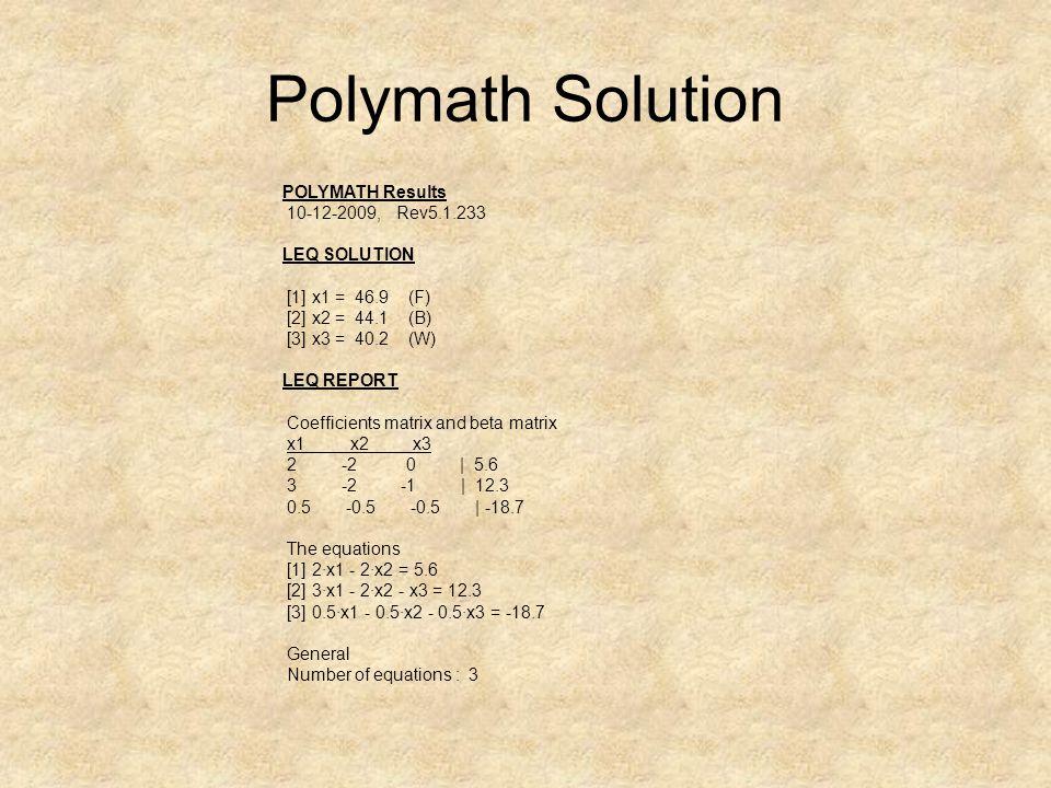 Polymath Solution POLYMATH Results 10-12-2009, Rev5.1.233 LEQ SOLUTION