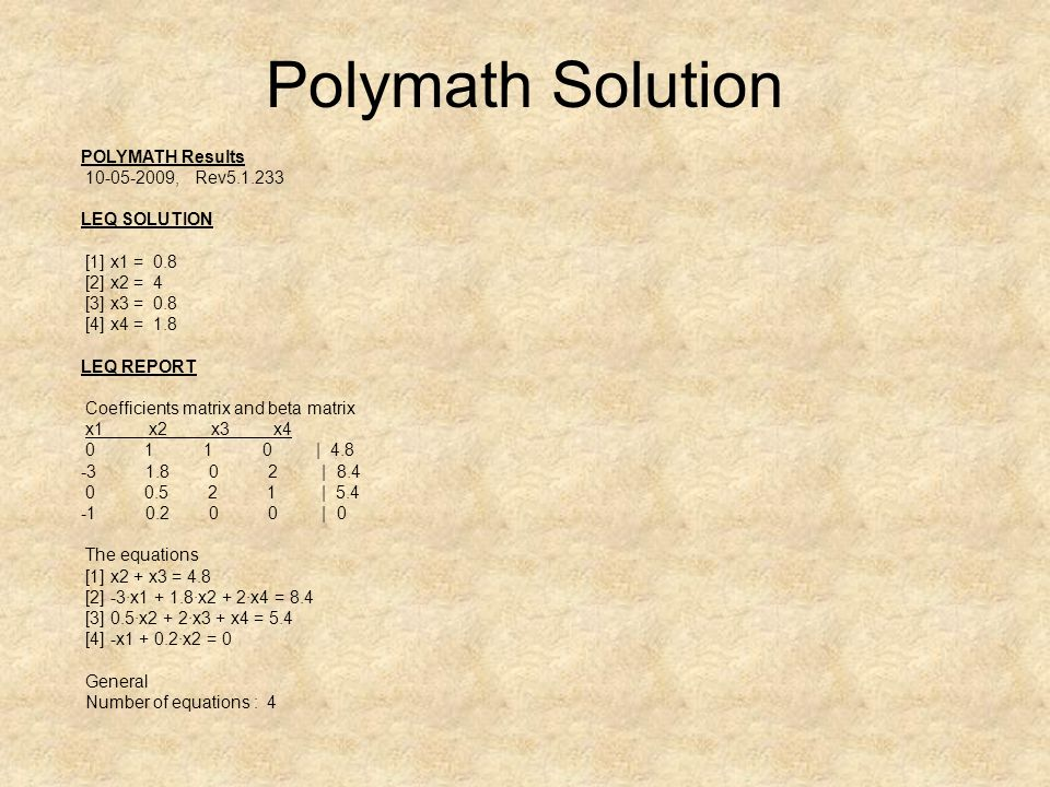 Polymath Solution POLYMATH Results 10-05-2009, Rev5.1.233 LEQ SOLUTION