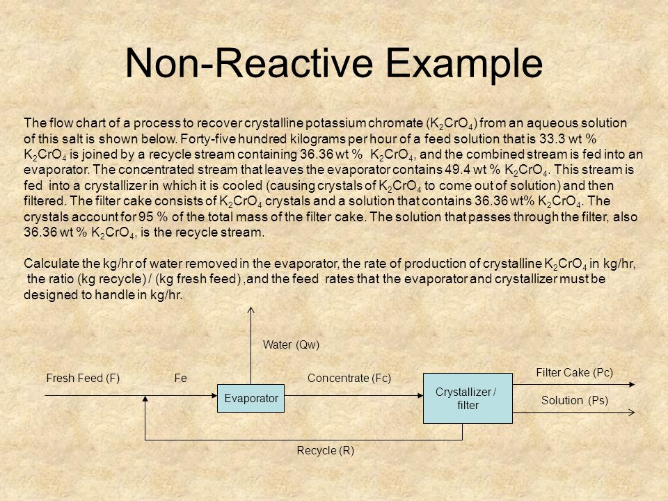 Non-Reactive Example The flow chart of a process to recover crystalline potassium chromate (K2CrO4) from an aqueous solution.