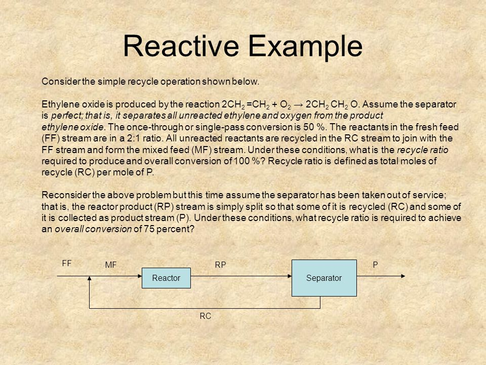 Reactive Example Consider the simple recycle operation shown below.