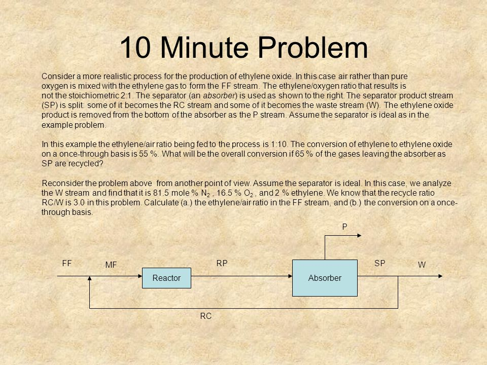 10 Minute Problem Consider a more realistic process for the production of ethylene oxide. In this case air rather than pure.