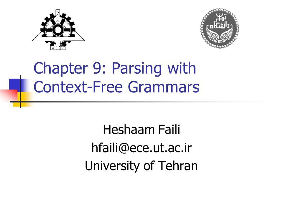 Chapter 9: Parsing with Context-Free Grammars