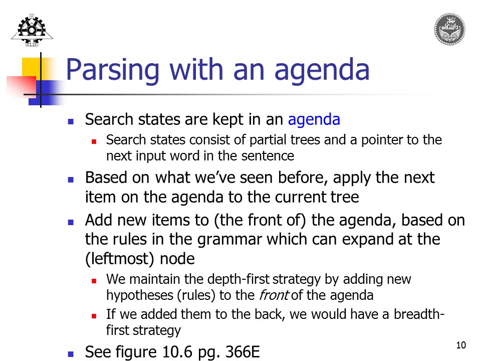 Parsing with an agenda Search states are kept in an agenda