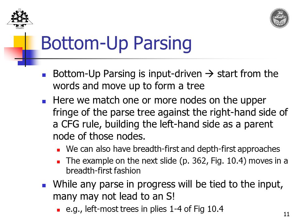 Bottom-Up Parsing Bottom-Up Parsing is input-driven  start from the words and move up to form a tree.