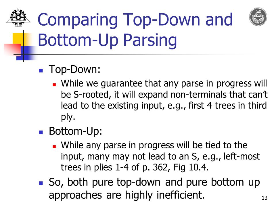 Comparing Top-Down and Bottom-Up Parsing