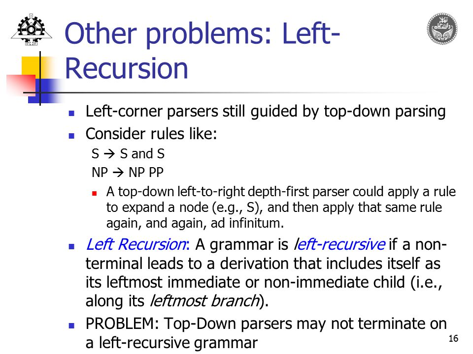 Other problems: Left-Recursion