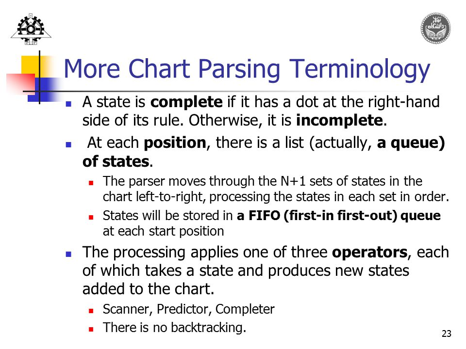 More Chart Parsing Terminology