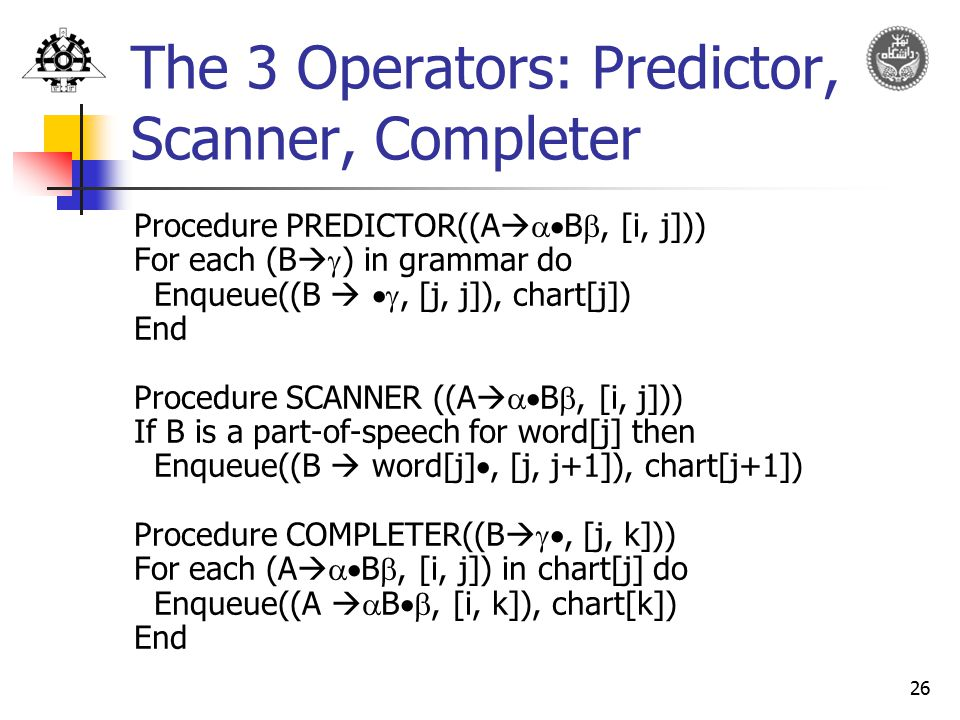 The 3 Operators: Predictor, Scanner, Completer