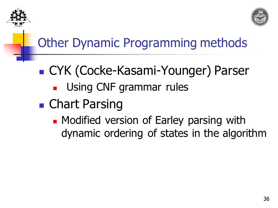 Other Dynamic Programming methods