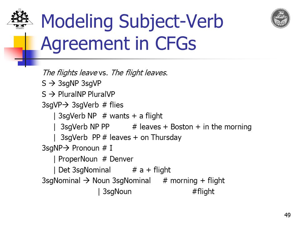 Modeling Subject-Verb Agreement in CFGs