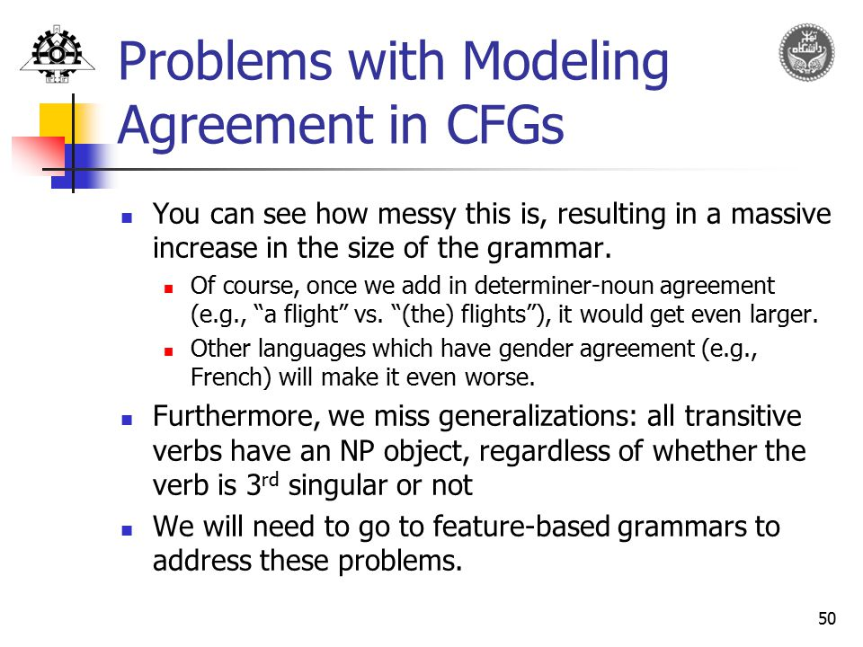 Problems with Modeling Agreement in CFGs