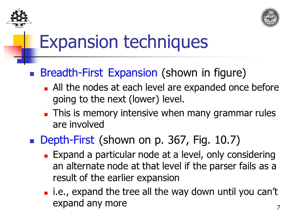 Expansion techniques Breadth-First Expansion (shown in figure)