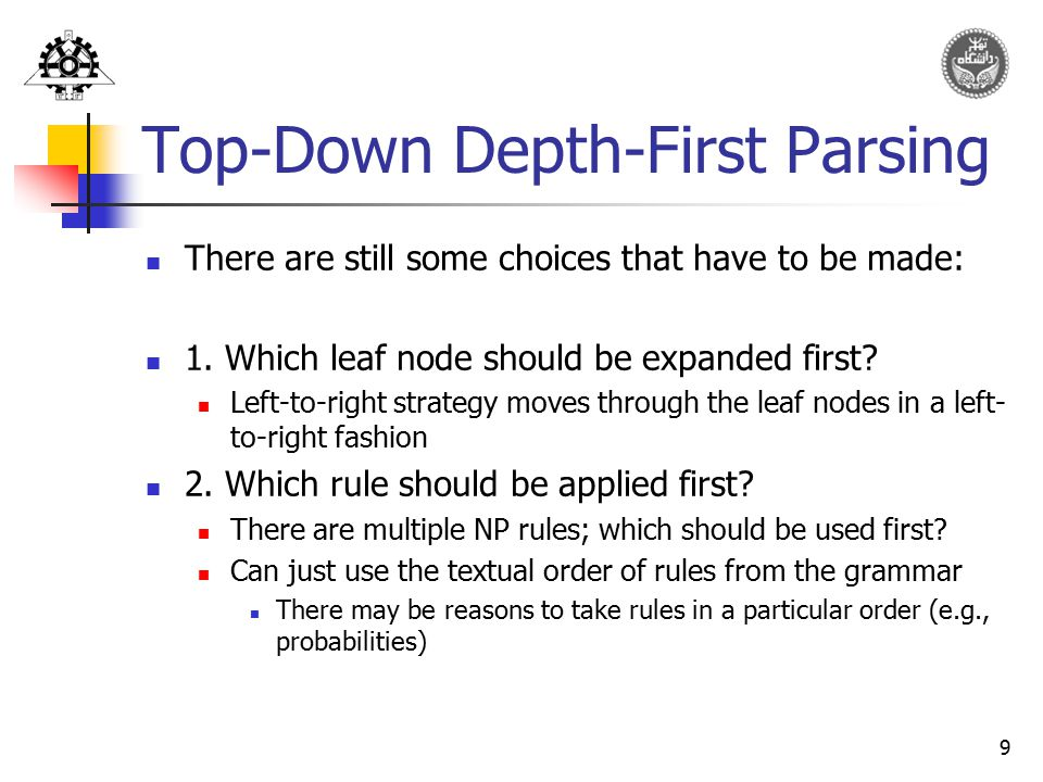 Top-Down Depth-First Parsing