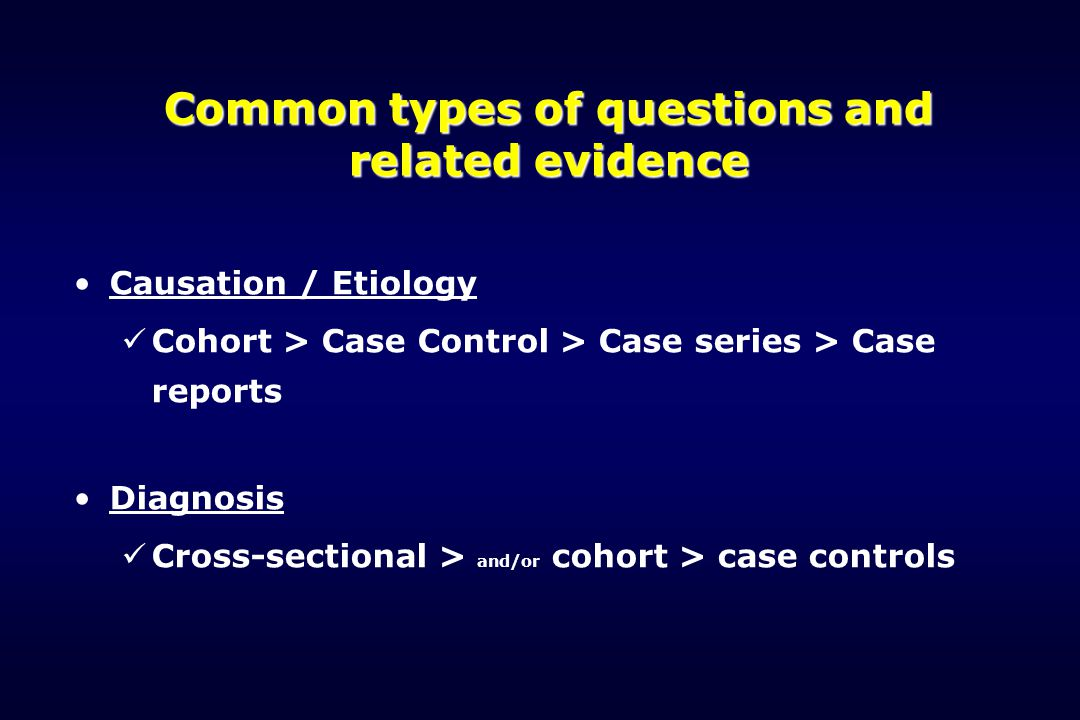Common types of questions and related evidence