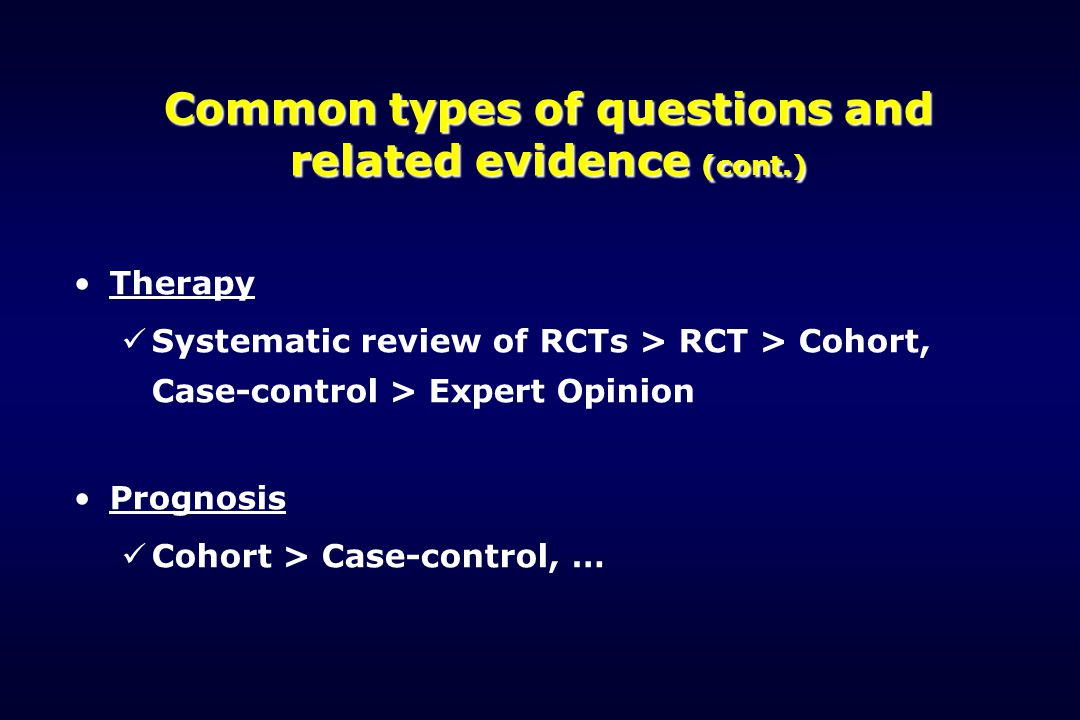 Common types of questions and related evidence (cont.)