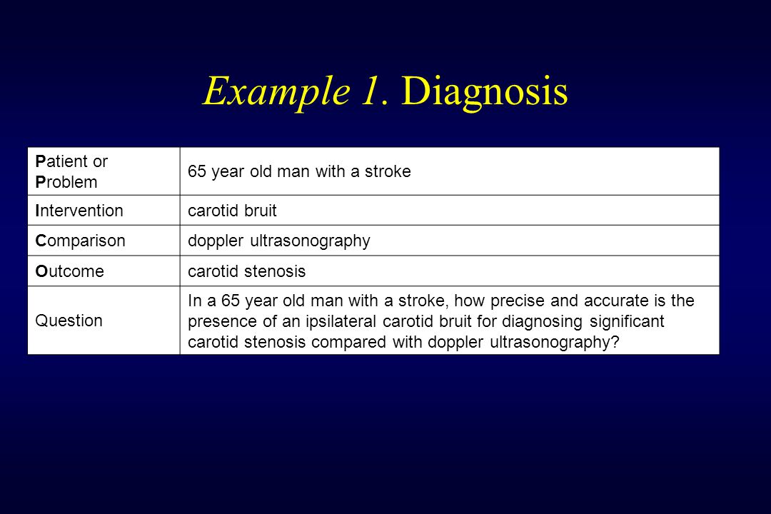 Example 1. Diagnosis Patient or Problem 65 year old man with a stroke