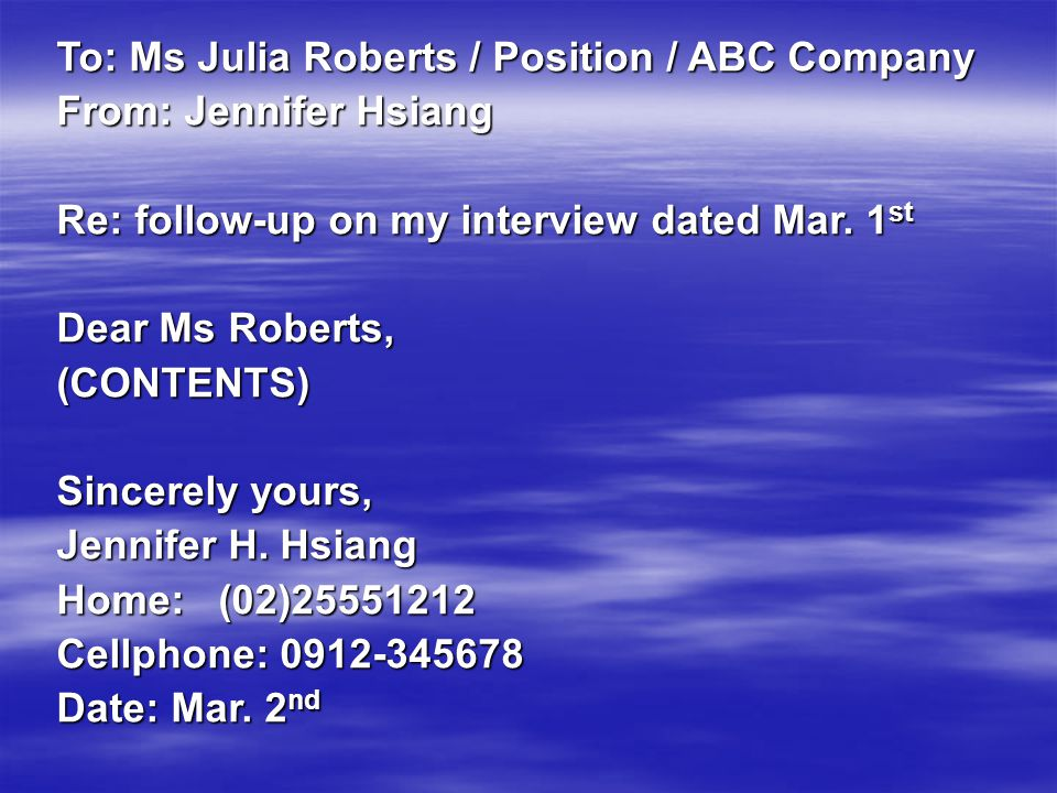To: Ms Julia Roberts / Position / ABC Company