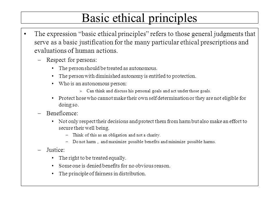 Basic ethical principles