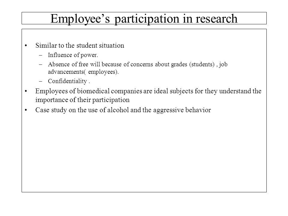 Employee's participation in research