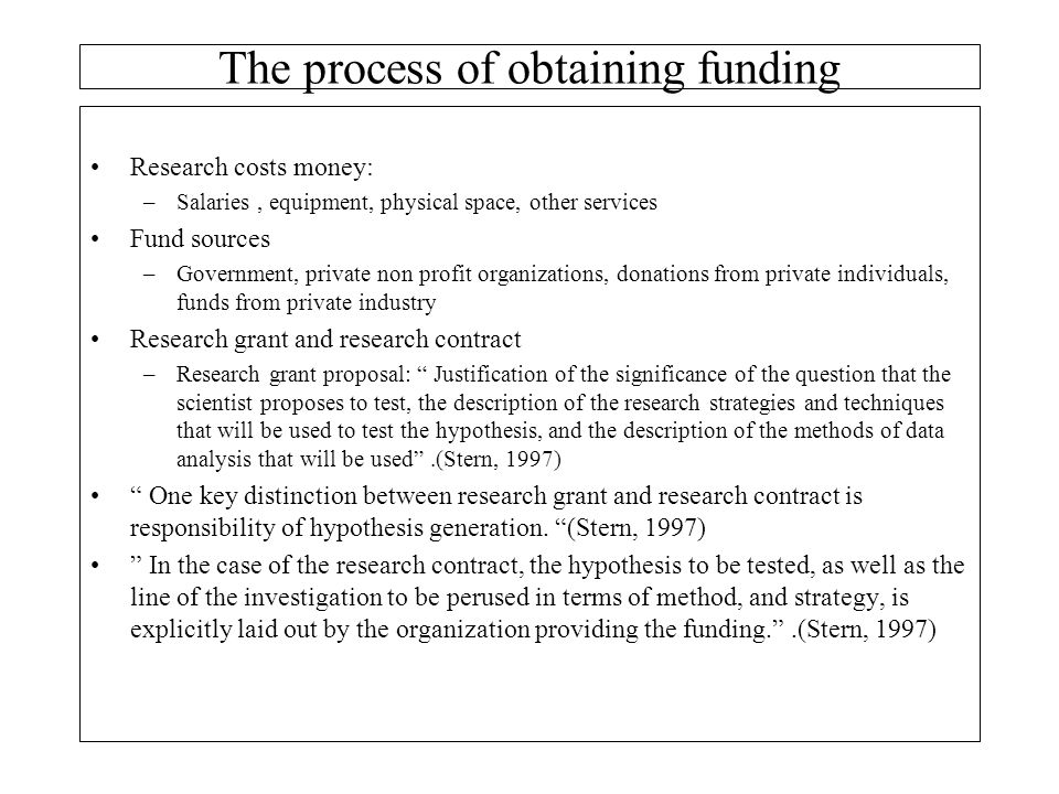 The process of obtaining funding