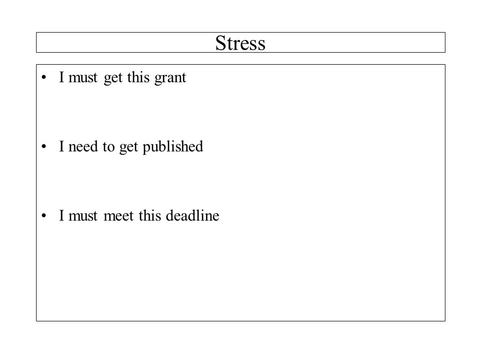 Stress I must get this grant I need to get published