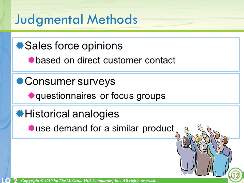 Judgmental Methods Sales force opinions Consumer surveys