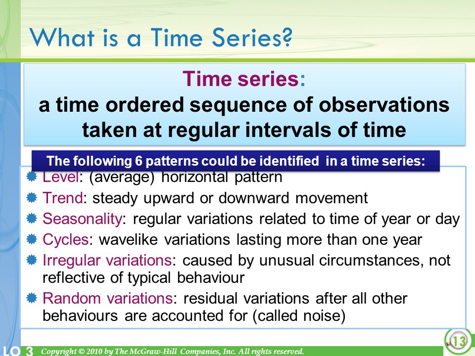 The following 6 patterns could be identified in a time series: