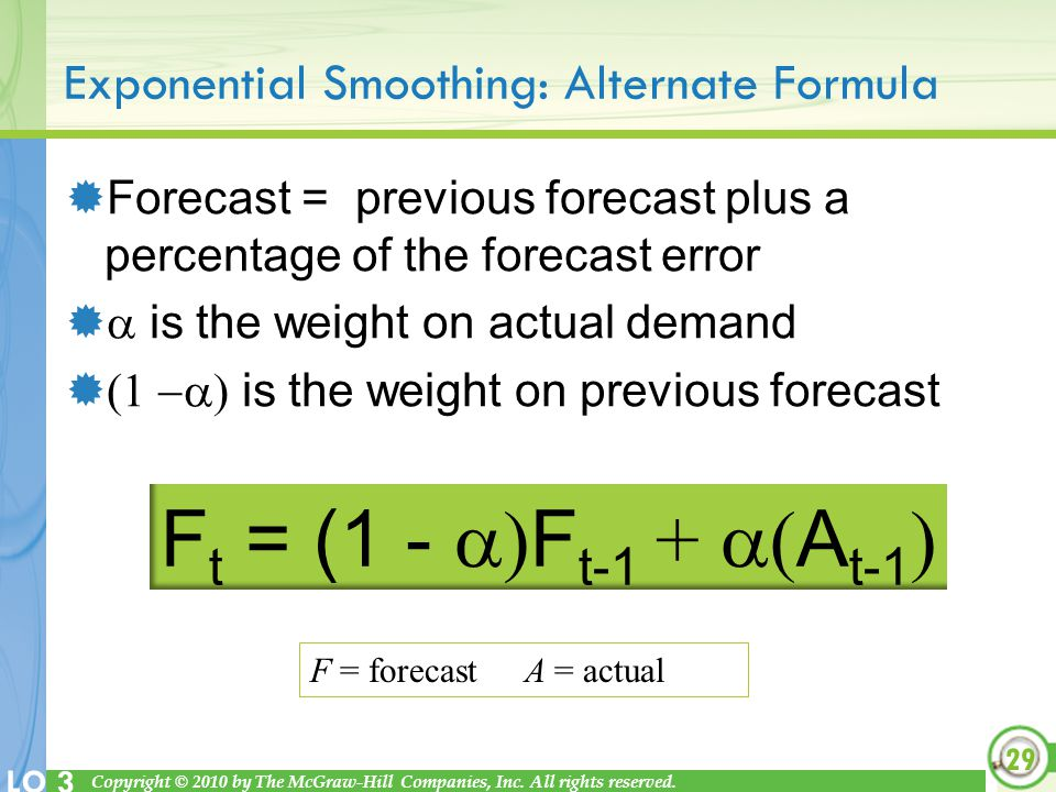 Exponential Smoothing: Alternate Formula