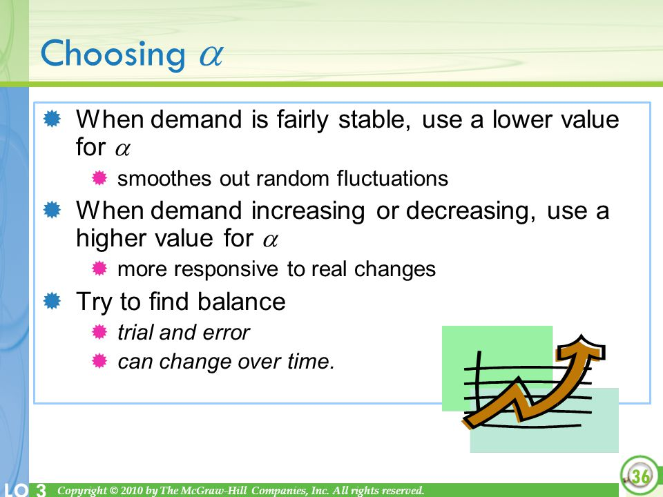 Choosing  When demand is fairly stable, use a lower value for 